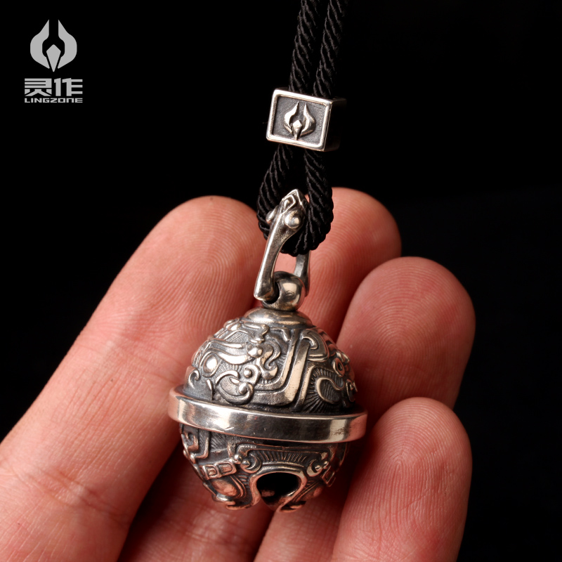 银挂坠车挂中国风钥匙扣 S925 灵作银饰原创设计饕餮纹纯银铃铛吊坠