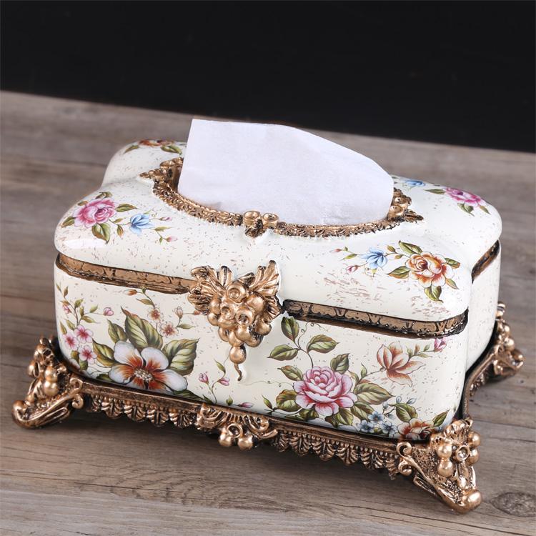 復古歐式紙巾盒抽紙盒奢華家居飾品餐巾盒客廳遙控器收納盒擺件