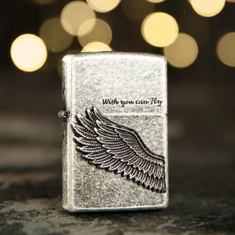 打火机zippo正品 原装古银黑冰飞得更高天使之翼 情人节礼物收藏