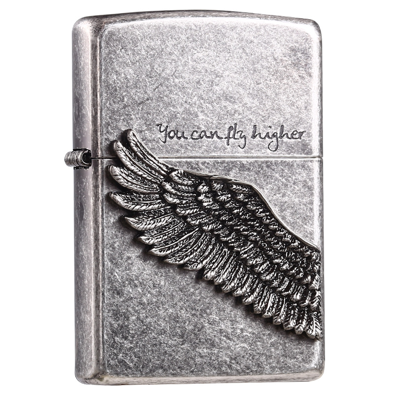 正品  情人节礼物收藏 原装古银黑冰飞得更高天使之翼 打火机 zippo