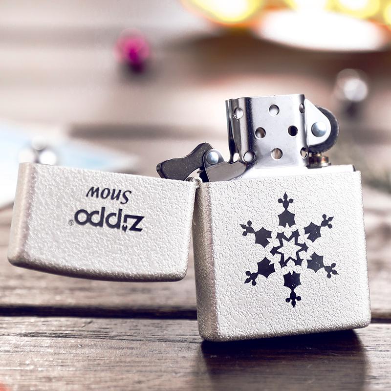 打火机zippo正版 原装韩版镀银雪花一三五朵 纯洁爱情情人节礼物