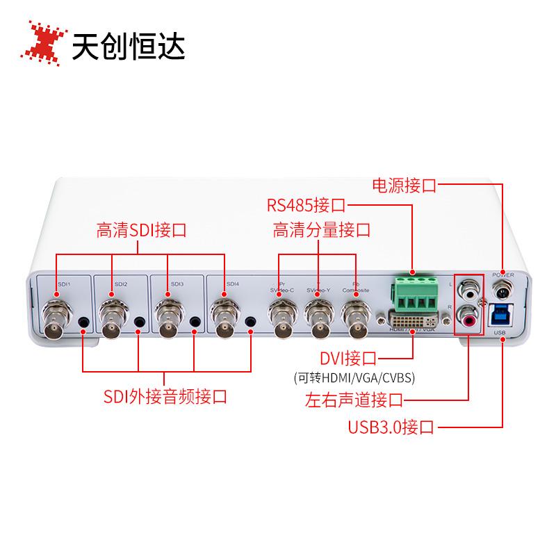 天创恒达TC-UB5A0N4-H视频采集卡 USB外置4路多路硬压缩采集盒