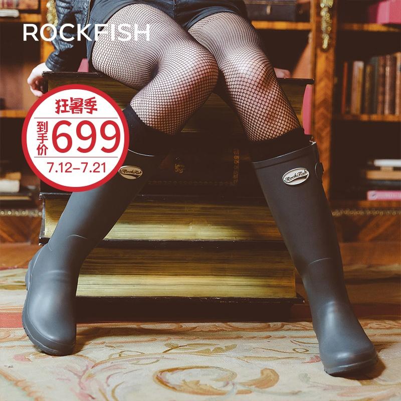 Rockfish英國雨靴女時尚款外穿高筒雨鞋女長筒下雨天穿的女裝水鞋