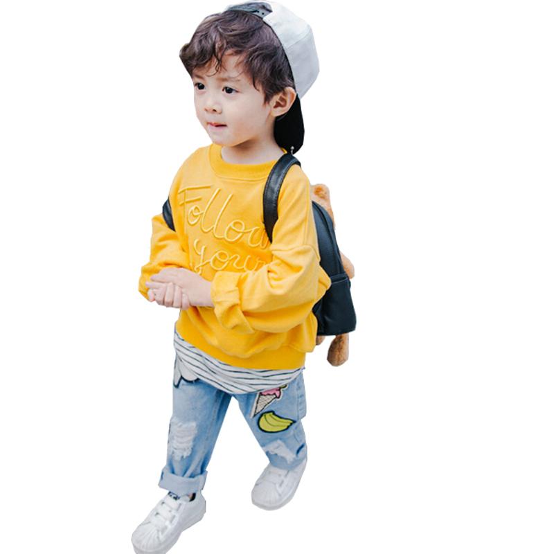 男童秋装长袖套头卫衣2019新款纯棉小童儿童韩版刺绣童装宝宝上衣