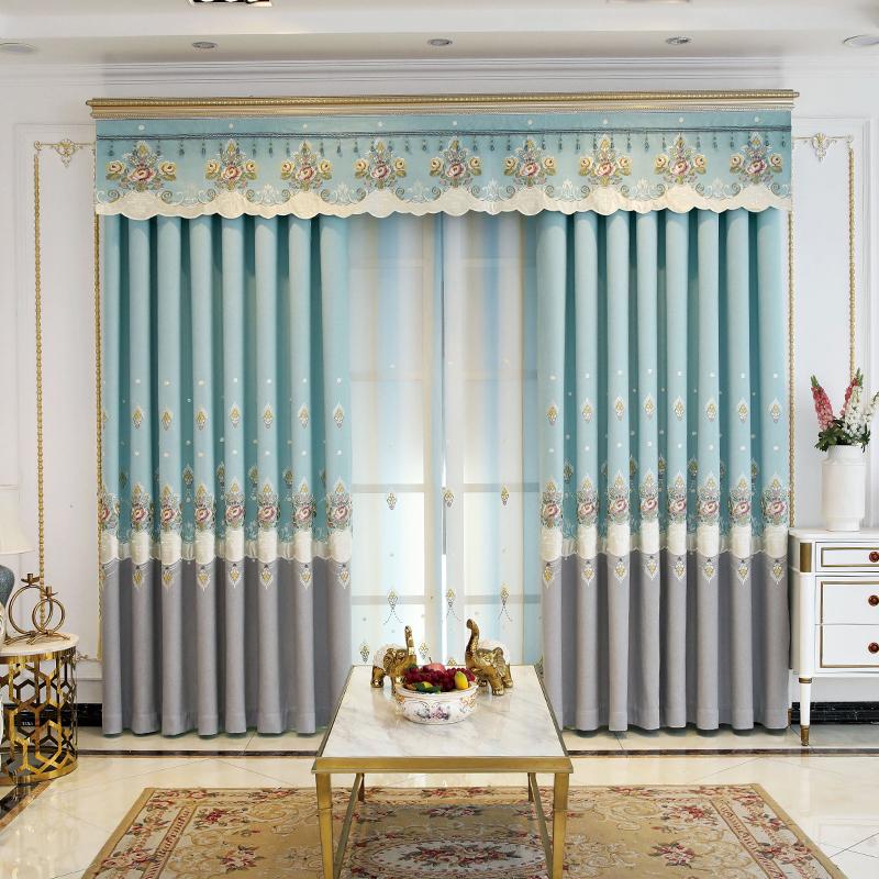 2020新款现代简约加厚高档绣花拼接窗帘布纱遮光温馨卧室客厅成品