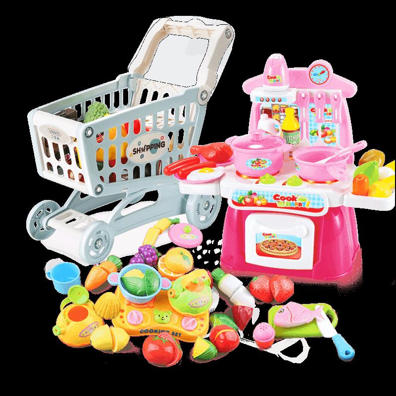 贝恩施儿童购物车玩具女孩 超市小手推车过家家宝宝迷你厨房套装