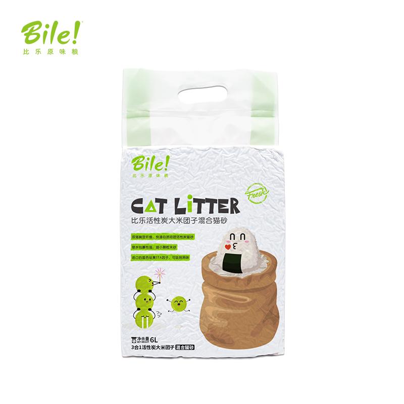 比乐3合1活性炭大米除臭混合猫砂6L结团不易散干爽不粘底豆腐猫砂