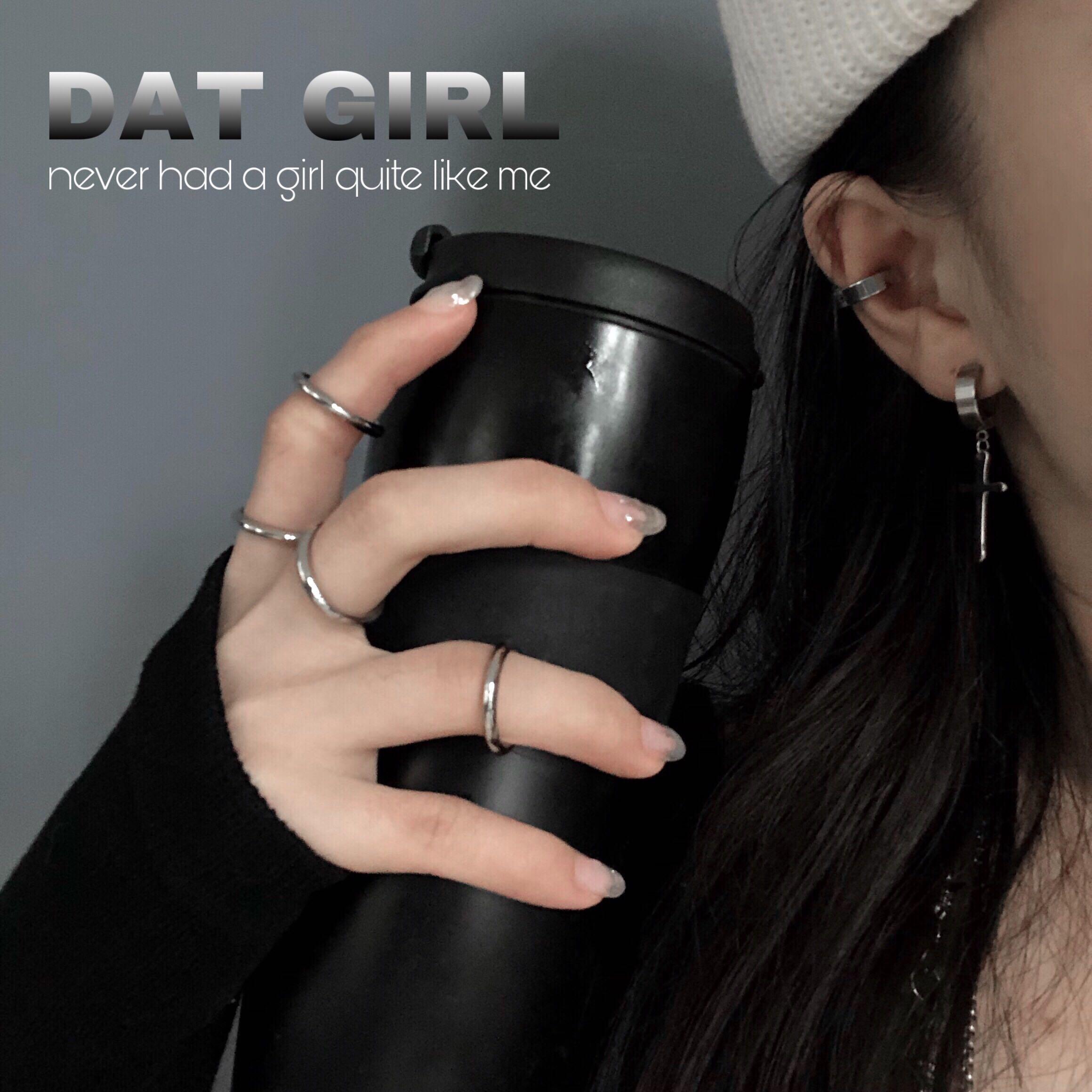 女冷淡风钛钢不锈钢光面 关节戒指套装组合港风戒指  MyHecate chic