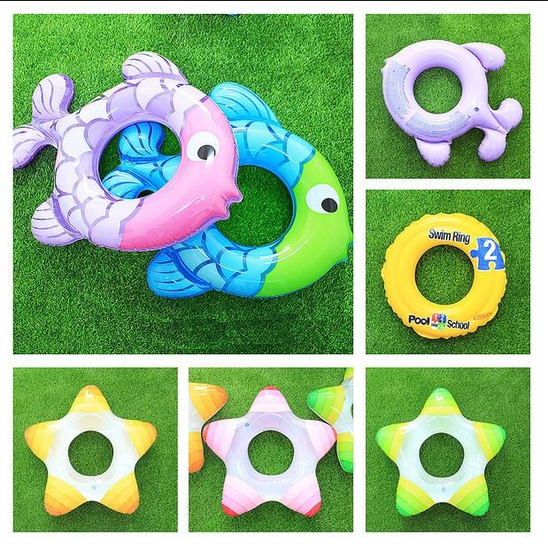 兒童遊樂園水上游泳圈兒童卡通小魚五星腋下圈浮圈寶寶充氣救生圈