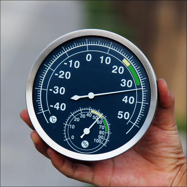 不锈钢温湿度计 家用高精度室内温度计湿度计 室内精准温湿度表