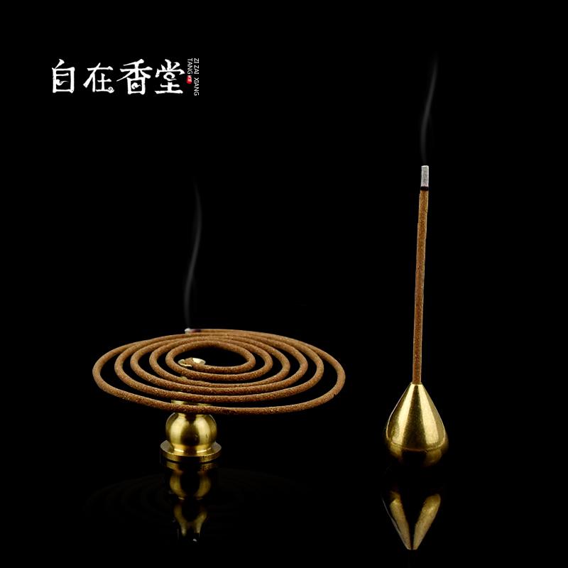 自在香堂 铜葫芦线香插 线香/盘香两用香座  盘香炉 线香插 香托