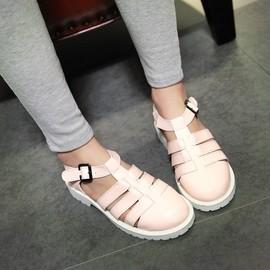 新款罗马韩版凉鞋女鞋夏平底平跟镂空包头学生40女童41大码43白色