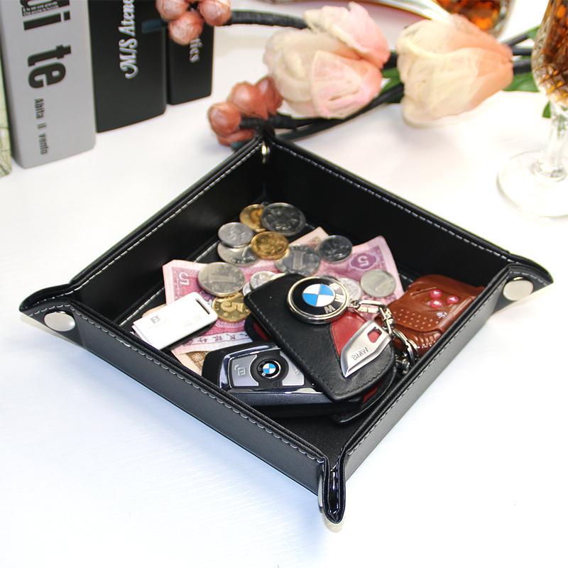 創意皮質桌面零錢收納盤 鑰匙零食小雜物整理盒 家居用品客廳擺件