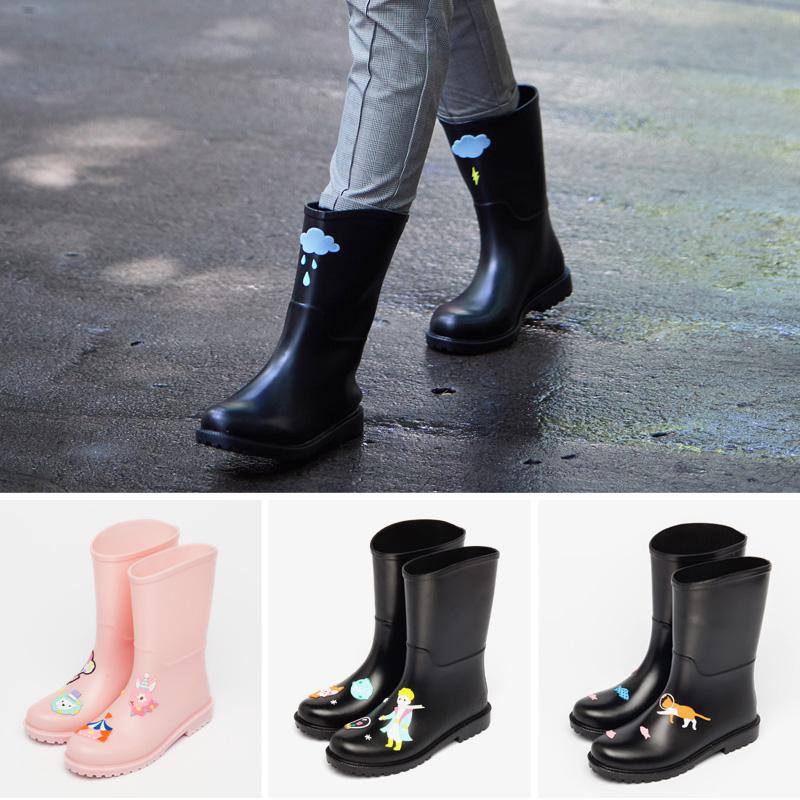 雨鞋女韩国可爱水鞋女士中筒防水时尚款外穿水靴防滑胶鞋成人雨靴