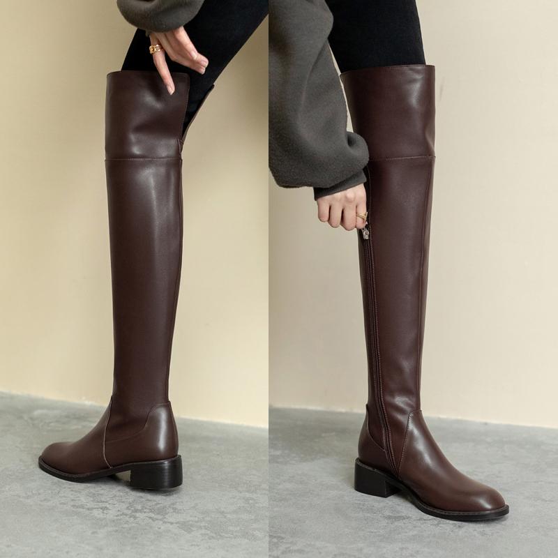 新款粗跟骑士靴不掉筒棕网站红高筒靴 2020 过膝长靴子女冬加绒显瘦
