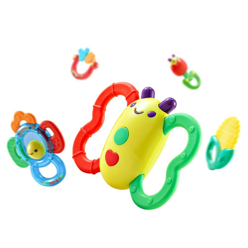 澳贝婴儿玩具放心煮5只装宝宝幼儿牙胶摇铃咬咬乐益智玩具礼盒