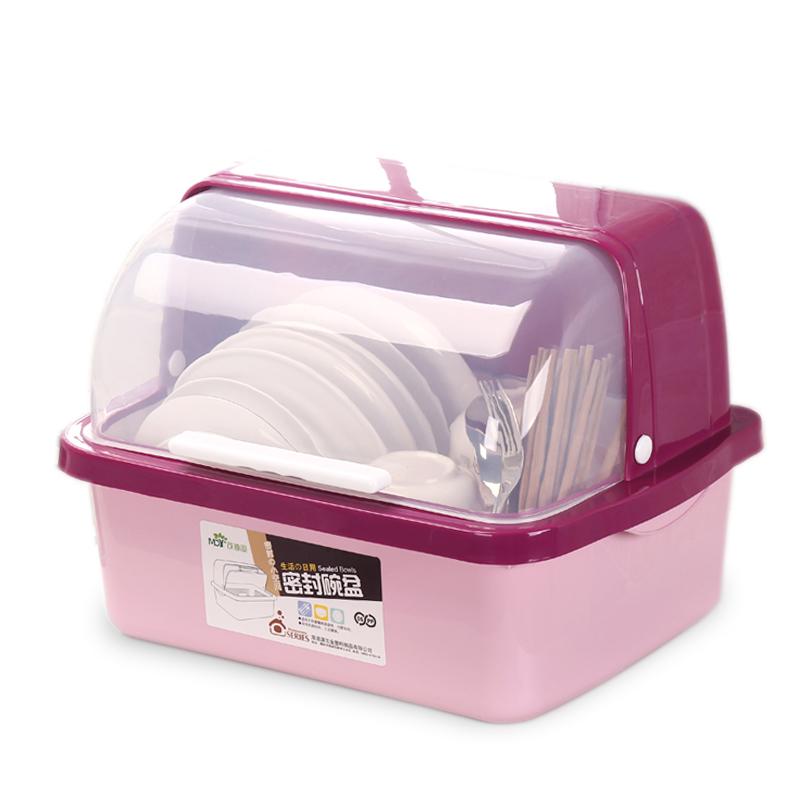 厨房放碗柜塑料碗架沥水架带盖家用装碗碟碗筷收纳盒餐具箱置物架