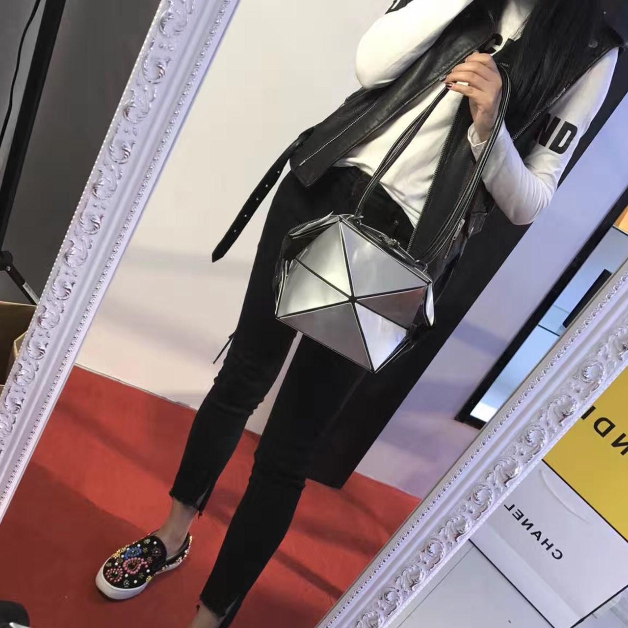 韩国东大门女包百变魔方折叠包几何菱格拼接手提包单肩百搭折叠包