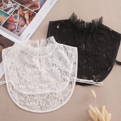 秋冬假领子女衬衫百搭假领木耳边蕾丝立领假衣领子白色衬衫假领女