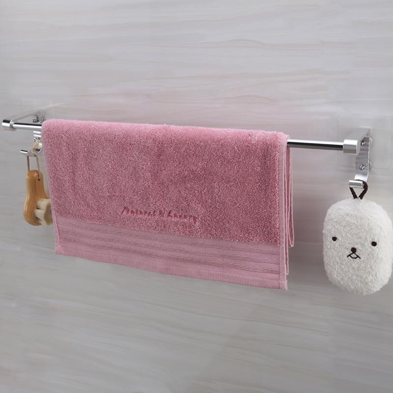 雙慶吸盤式太空鋁毛巾杆浴室毛巾架單杆免打孔衛生間毛巾掛杆掛鉤