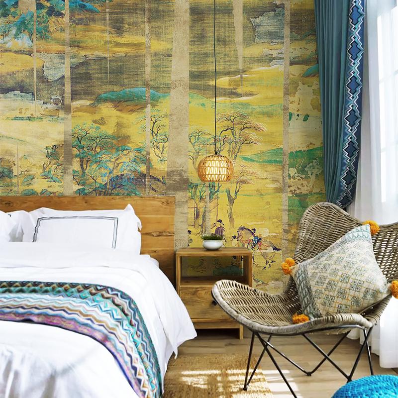 良印水墨画复古法式中式墙纸客厅卧室壁纸电视背景墙定制壁画墙布