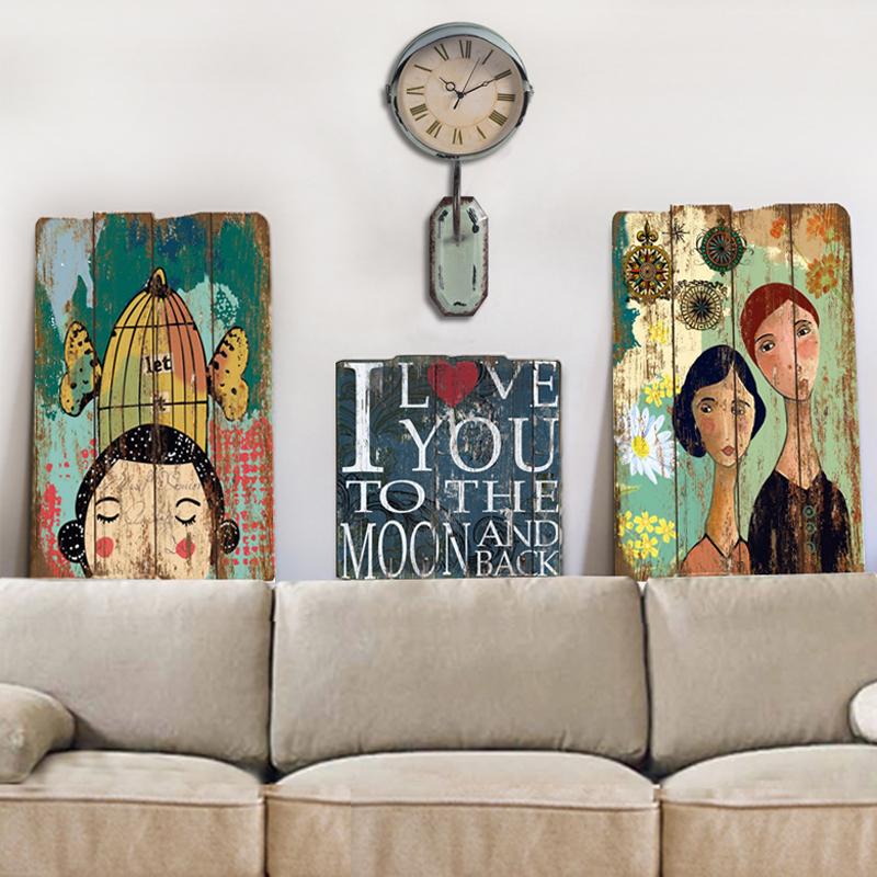 美式復古木板畫房間牆面裝飾掛件創意女生臥室牆上背景牆裝飾掛畫