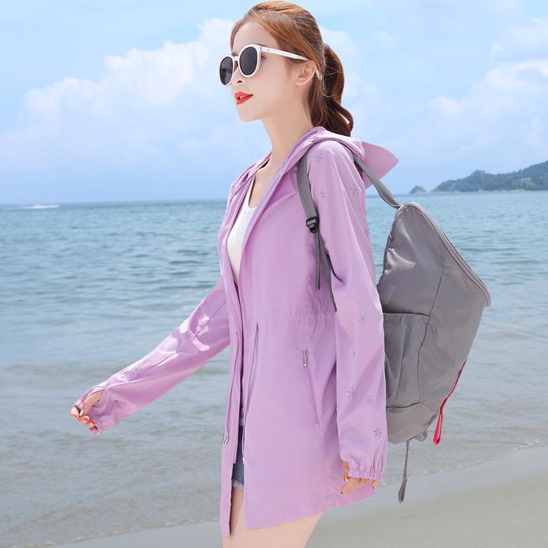 防晒衣女中长款2018夏季新款韩版防紫外线防晒服衫长袖连帽薄外套