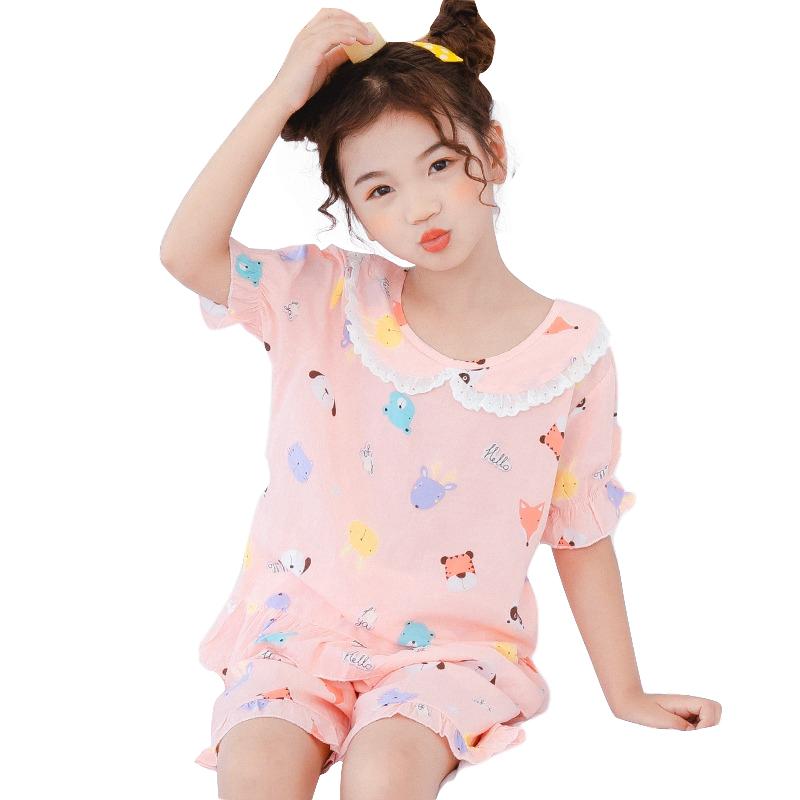 儿童睡衣棉绸夏季薄款女童绵绸空调家居服公主短袖套装夏天中大童