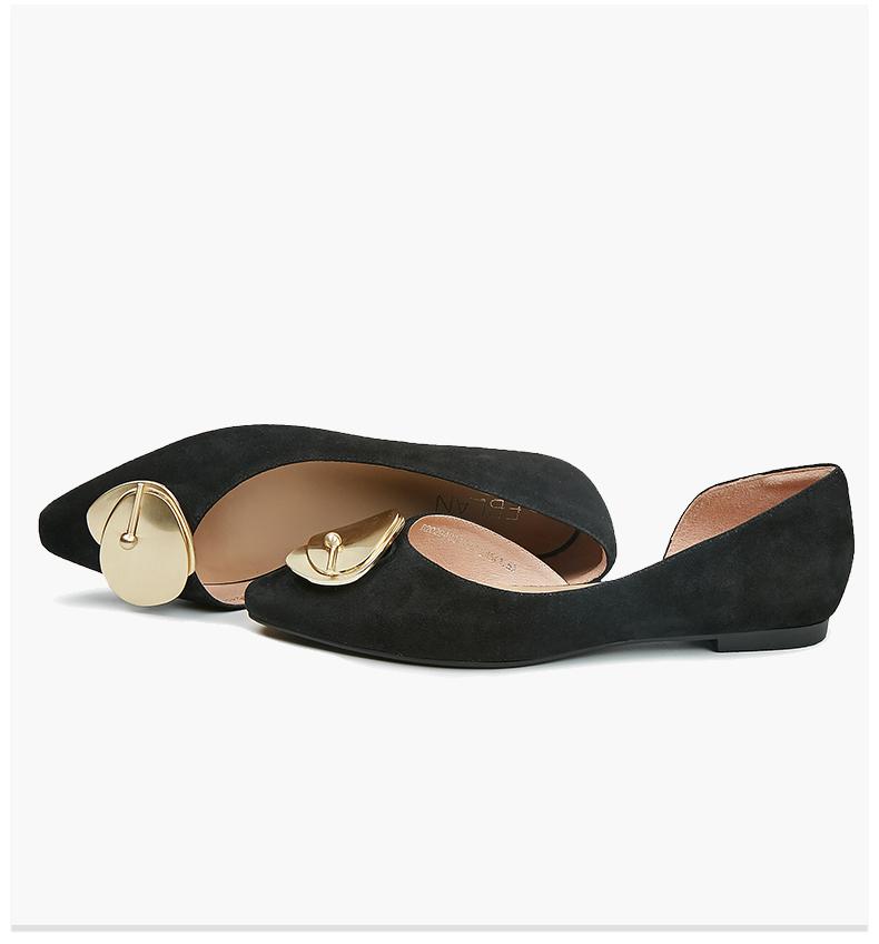 B20294001WX 新款反羊绒皮金属扣饰低跟平底单鞋女 2020 千百度伊伴