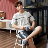 Summer pajamas men's summer cotton short-sleeved shorts spring and summer youth men's summer thin section spring and autumn home service suit