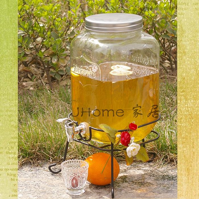 5L 8升甜品台玻璃果汁罐 泡酒瓶带水龙头 玻璃果汁饮料瓶泡酒瓶