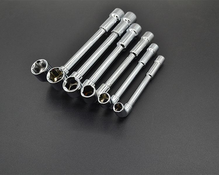 L型套筒扳手7字型弯头穿孔扳手外六角烟斗型套管扳手摩托汽车维修