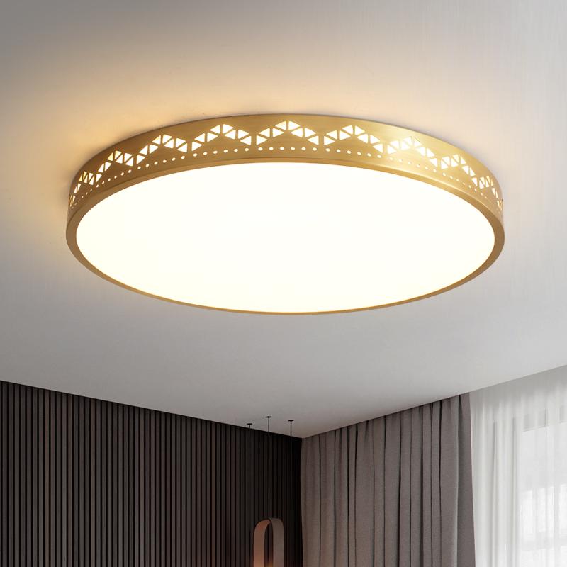 全铜超薄吸顶灯简约现代圆形客厅灯餐厅卧室走廊过道阳台铜灯 Led