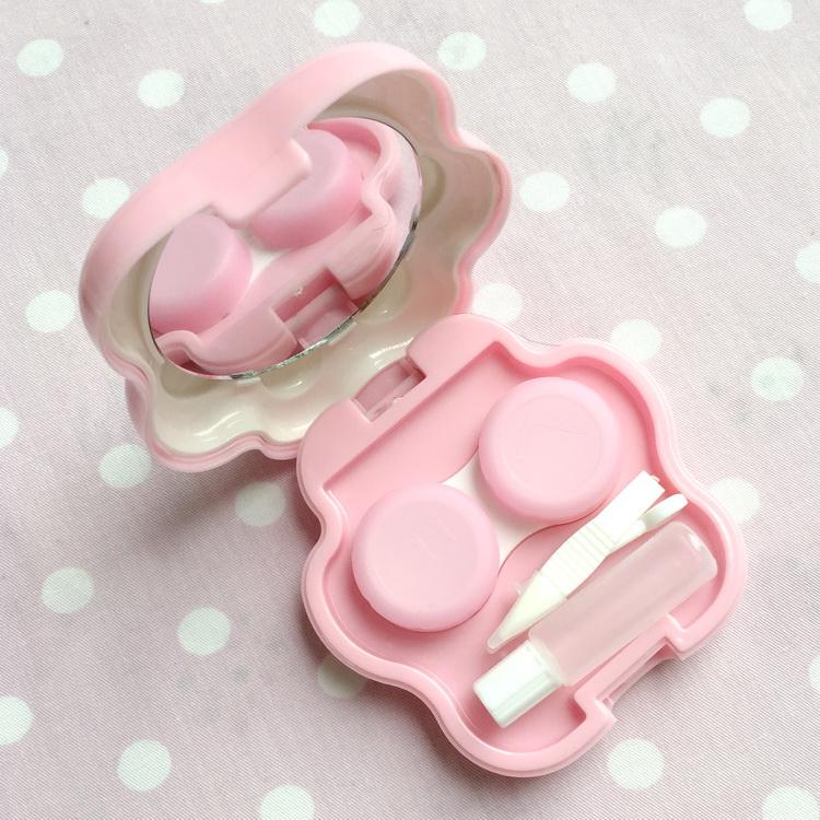 有猫 【粉色底白色肉球】可爱猫爪美瞳隐形眼镜伴侣盒镜子5件套萌