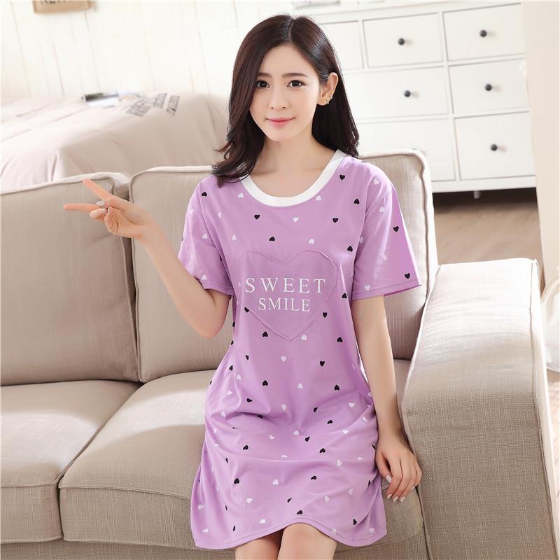 夏季韩版女士纯棉短袖睡裙加大码公主宽松可爱睡衣性感裙子家居服
