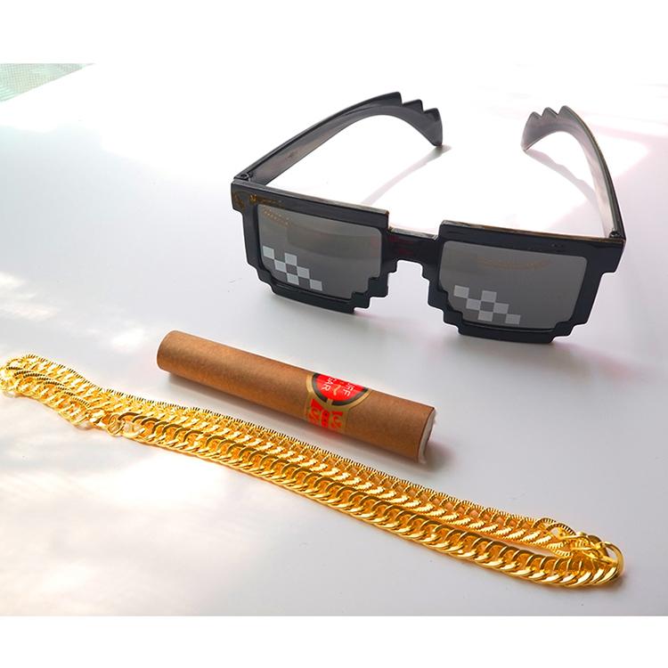 马赛克眼镜雪茄大金链子装B神器创意动漫