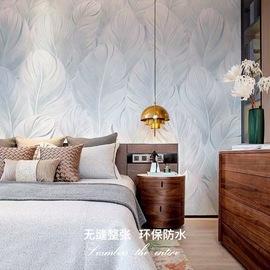 领绣家居 北欧电视背景墙白色羽毛客厅墙纸壁布卧室墙布影视墙壁