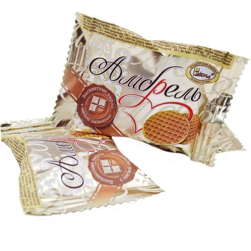 正品 克早餐饼甜点华夫饼 500 礼袋装 进口俄罗斯蜂蜜拉丝饼干