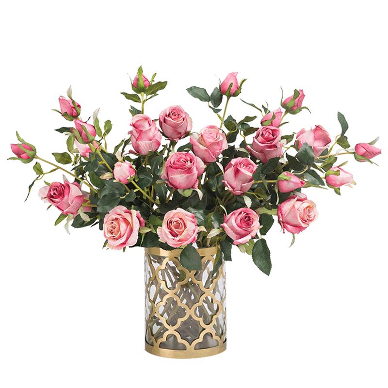 南十字星 复古仿真玫瑰花保加利亚欧式客厅装饰摆件插花假花绢花