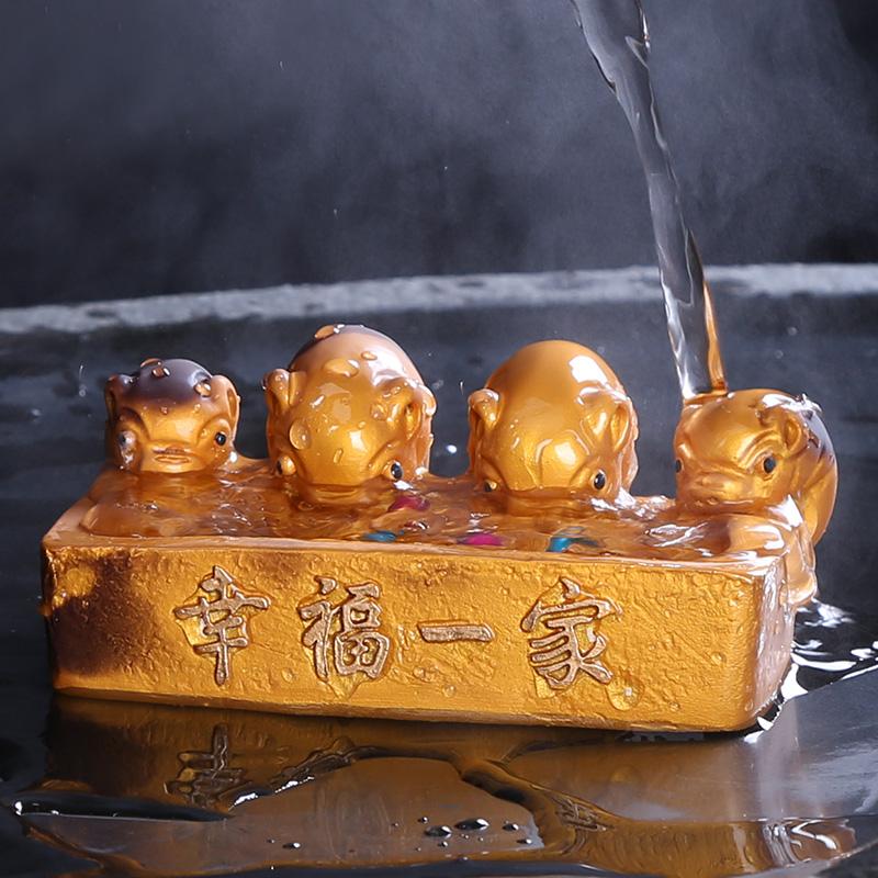 祥业盆栽小猪可爱迷你招财宜兴段泥紫砂茶宠摆件茶桌茶玩精品可养