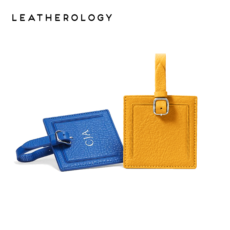 Leatherology真皮創意正方登機牌定製行李牌旅行箱吊牌行李箱掛牌