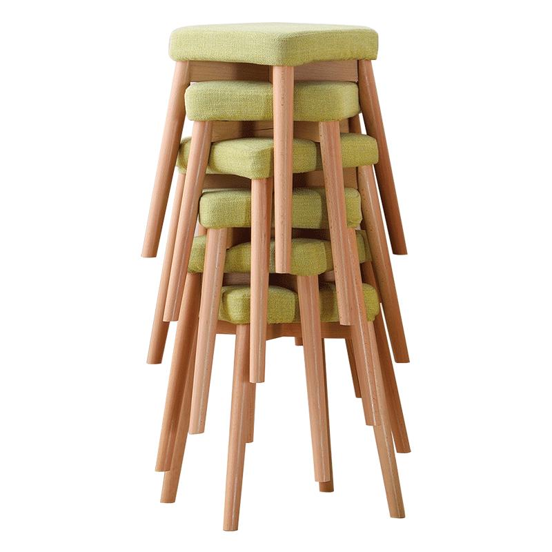 初木北欧实木凳子创意高凳化妆凳客厅家用方凳餐桌凳家用餐厅板凳