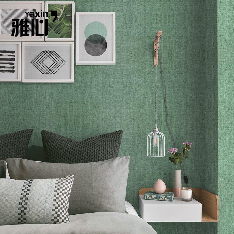 雅心北欧麻纹纯色壁布素色客厅电视背景墙无缝墙布定制无纺布墙纸