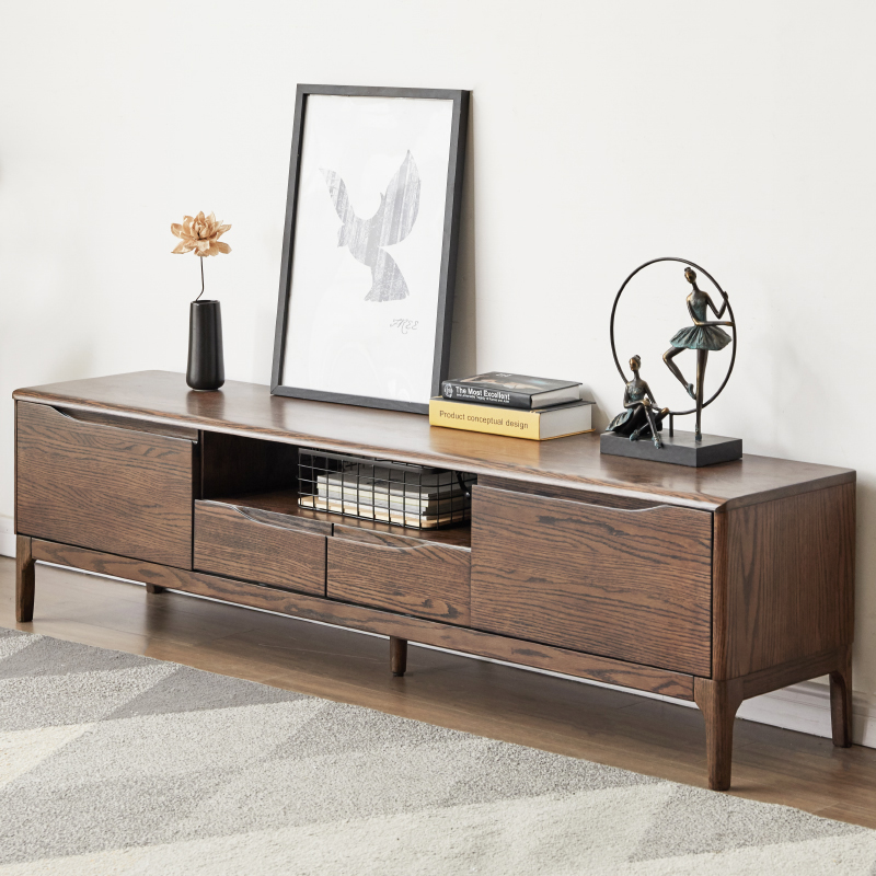 加兰纯实木储物电视柜组合日式胡桃色地柜现代简约小户型家具矮柜