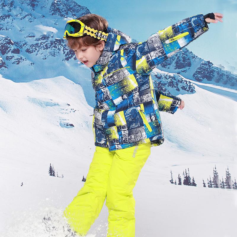 新款phibee菲比小象儿童滑雪服套装男童户外冲锋衣裤两件套