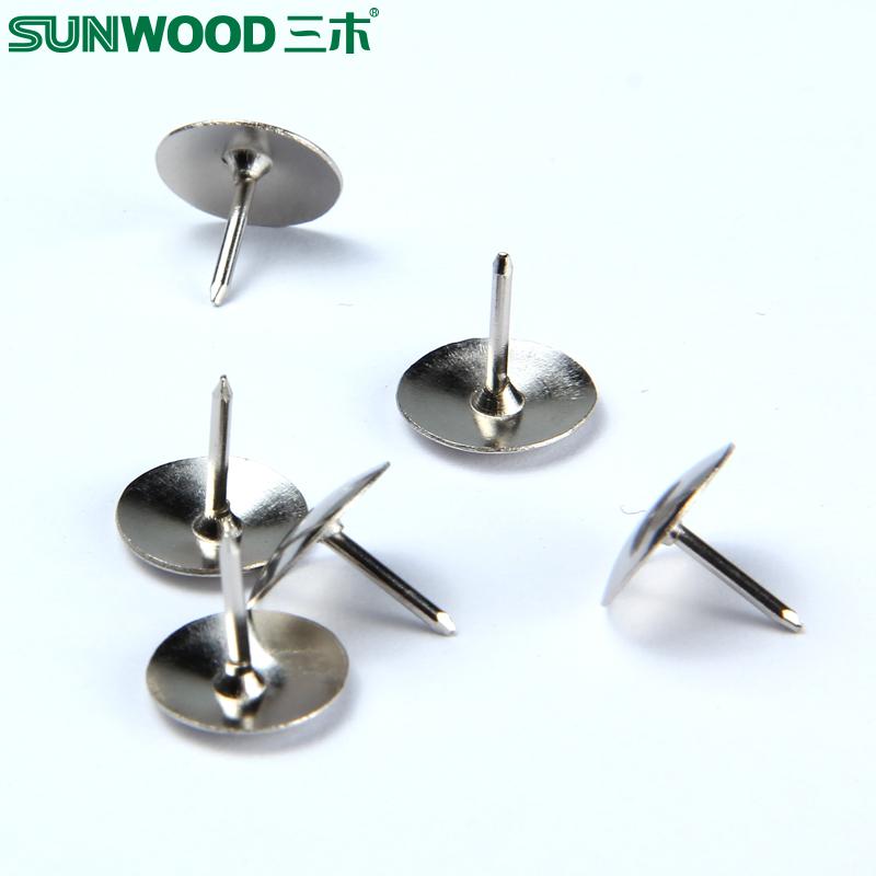 三木大头钉8080  固定钉纸张镀镍100枚/盒 金属圆头图钉