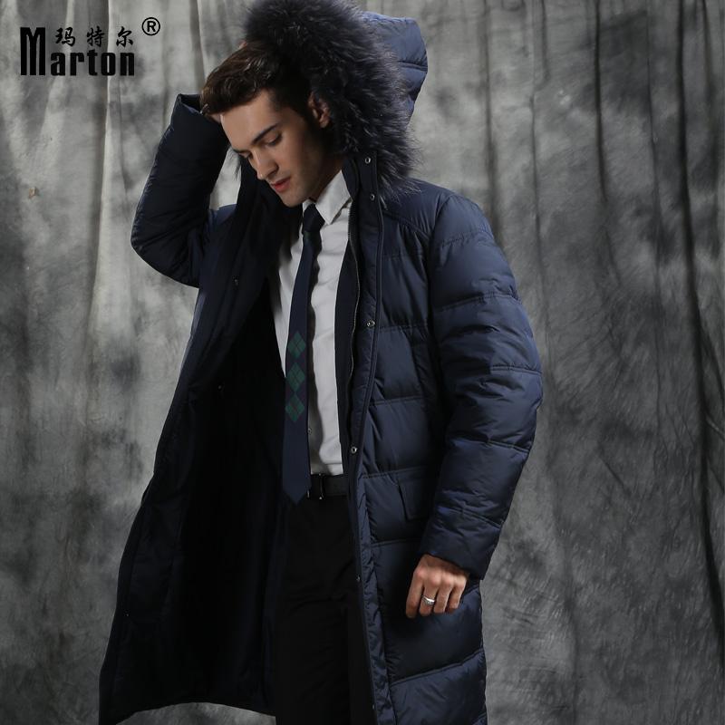 羽绒服男中长款过膝加长貉子毛领冬白鹅绒服男士加厚外套大衣修身