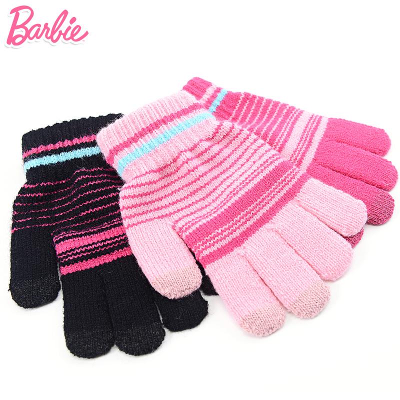 芭比女童手套冬季宝宝五指毛线手套儿童针织保暖手套女孩全指手套