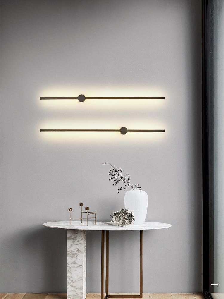 长条形简约北欧客厅沙发背景墙壁卧室床头灯 LED 极简壁灯创意线姓