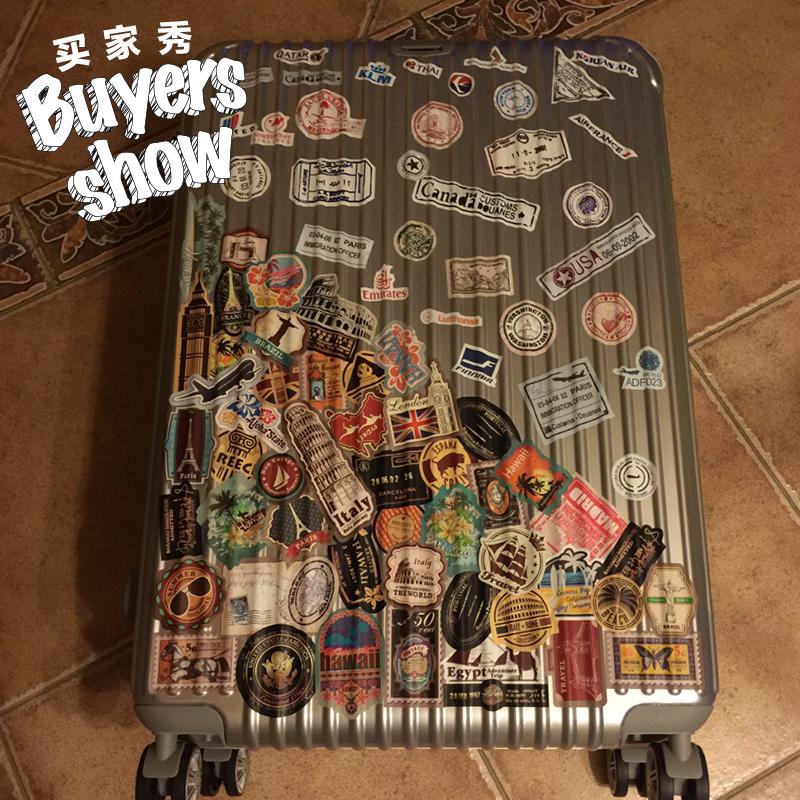 复古行李箱拉杆箱贴纸笔记本滑板拉杆箱电脑吉他贴画个性防水贝光